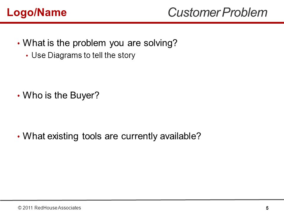 Logo/Name Customer Problem What is the problem you are solving.