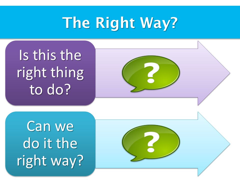 The Right Way Is this the right thing to do Can we do it the right way