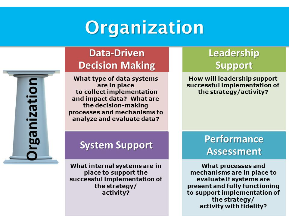 Organization Organization What type of data systems are in place to collect implementation and impact data.