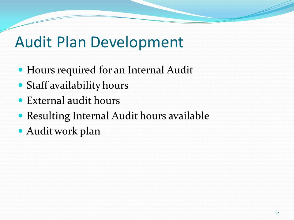 Audit Plan Development Hours required for an Internal Audit Staff availability hours External audit hours Resulting Internal Audit hours available Audit work plan 12
