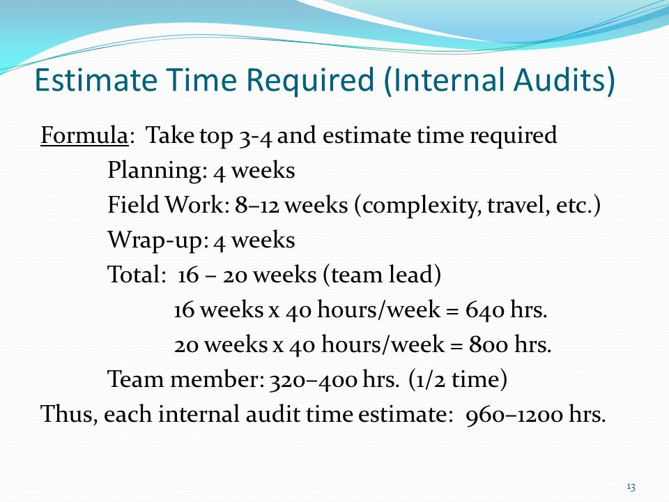 Estimate Time Required (Internal Audits) Formula: Take top 3-4 and estimate time required Planning: 4 weeks Field Work: 8–12 weeks (complexity, travel, etc.) Wrap-up: 4 weeks Total: 16 – 20 weeks (team lead) 16 weeks x 40 hours/week = 640 hrs.