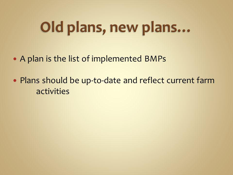 A plan is the list of implemented BMPs Plans should be up-to-date and reflect current farm activities