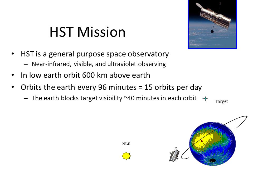 HST Mission HST is a general purpose space observatory – Near-infrared, visible, and ultraviolet observing In low earth orbit 600 km above earth Orbits the earth every 96 minutes = 15 orbits per day – The earth blocks target visibility ~40 minutes in each orbit Sun Target