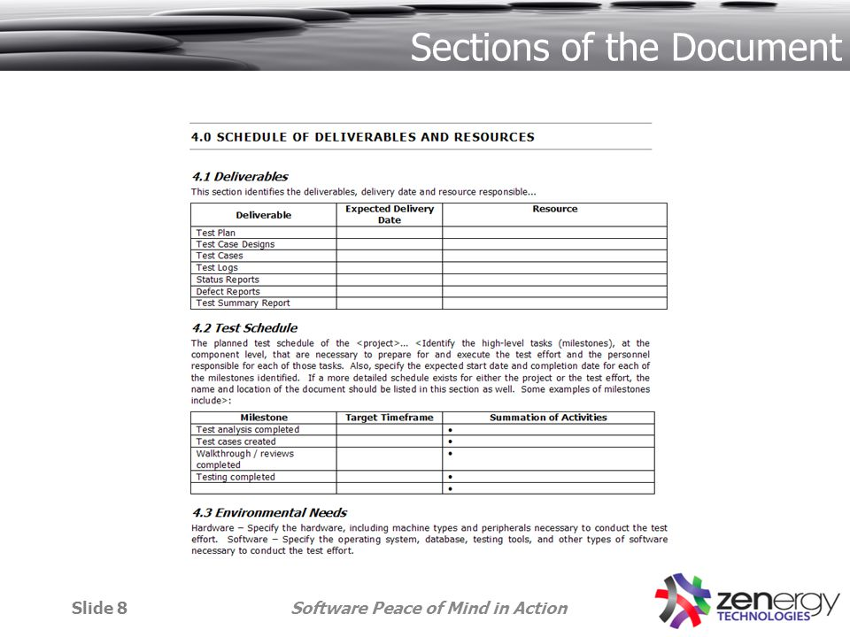 Software Peace of Mind in ActionSlide 8 Sections of the Document