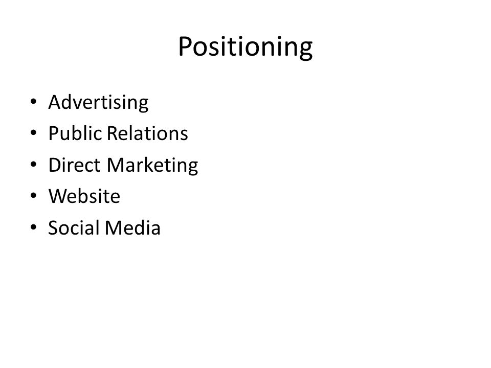 Positioning Advertising Public Relations Direct Marketing Website Social Media