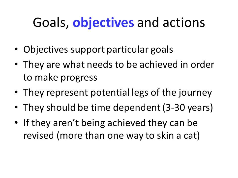 Goals, objectives and actions Objectives support particular goals They are what needs to be achieved in order to make progress They represent potential legs of the journey They should be time dependent (3-30 years) If they arent being achieved they can be revised (more than one way to skin a cat)
