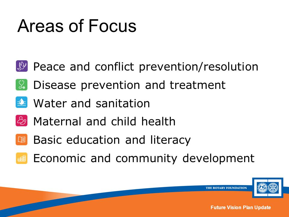Future Vision Plan Update Peace and conflict prevention/resolution Disease prevention and treatment Water and sanitation Maternal and child health Basic education and literacy Economic and community development Areas of Focus