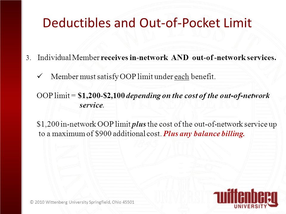 © 2010 Wittenberg University Springfield, Ohio Deductibles and Out-of-Pocket Limit 3.