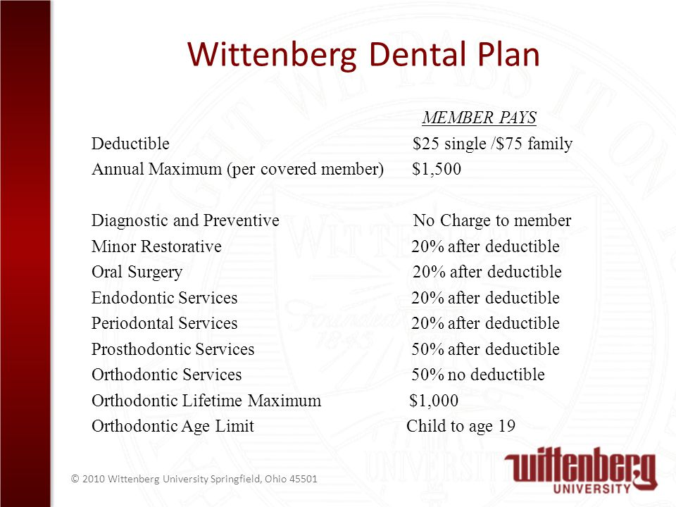 © 2010 Wittenberg University Springfield, Ohio Wittenberg Dental Plan MEMBER PAYS Deductible $25 single /$75 family Annual Maximum (per covered member) $1,500 Diagnostic and Preventive No Charge to member Minor Restorative 20% after deductible Oral Surgery 20% after deductible Endodontic Services 20% after deductible Periodontal Services 20% after deductible Prosthodontic Services 50% after deductible Orthodontic Services 50% no deductible Orthodontic Lifetime Maximum $1,000 Orthodontic Age Limit Child to age 19