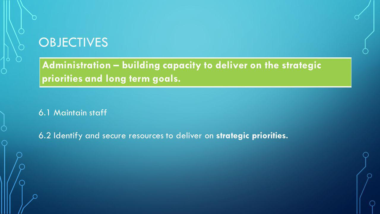OBJECTIVES Administration – building capacity to deliver on the strategic priorities and long term goals.