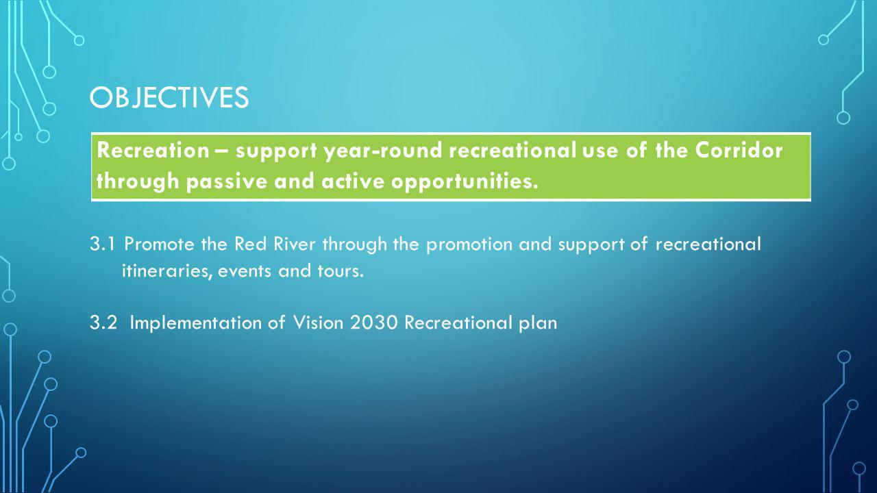 OBJECTIVES Recreation – support year-round recreational use of the Corridor through passive and active opportunities.