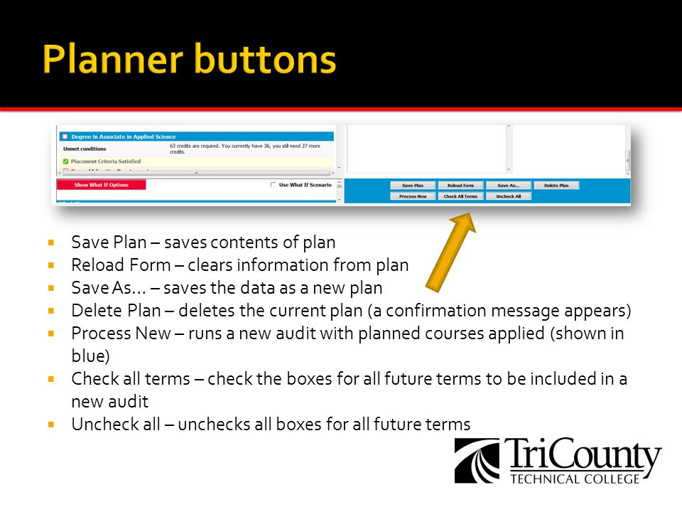 Save Plan – saves contents of plan Reload Form – clears information from plan Save As… – saves the data as a new plan Delete Plan – deletes the current plan (a confirmation message appears) Process New – runs a new audit with planned courses applied (shown in blue) Check all terms – check the boxes for all future terms to be included in a new audit Uncheck all – unchecks all boxes for all future terms