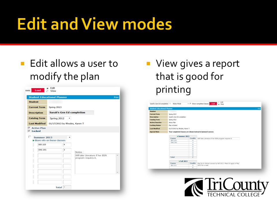 Edit allows a user to modify the plan View gives a report that is good for printing