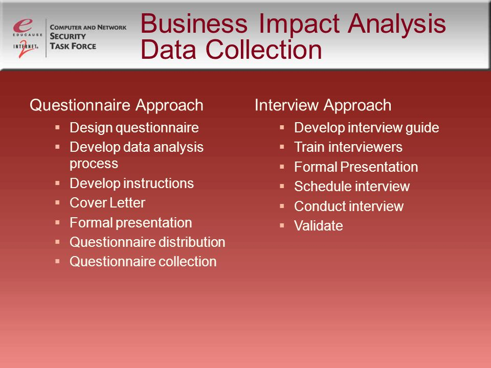 Business Impact Analysis Data Collection Questionnaire Approach Design questionnaire Develop data analysis process Develop instructions Cover Letter Formal presentation Questionnaire distribution Questionnaire collection Interview Approach Develop interview guide Train interviewers Formal Presentation Schedule interview Conduct interview Validate