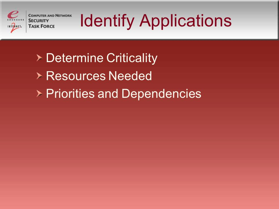 Identify Applications Determine Criticality Resources Needed Priorities and Dependencies