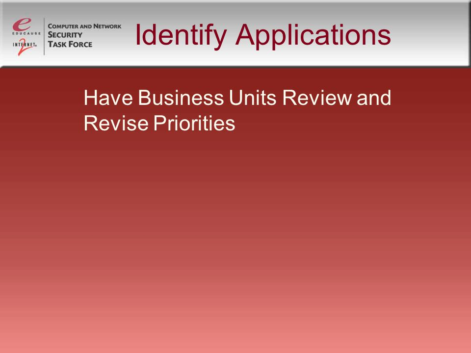 Identify Applications Have Business Units Review and Revise Priorities