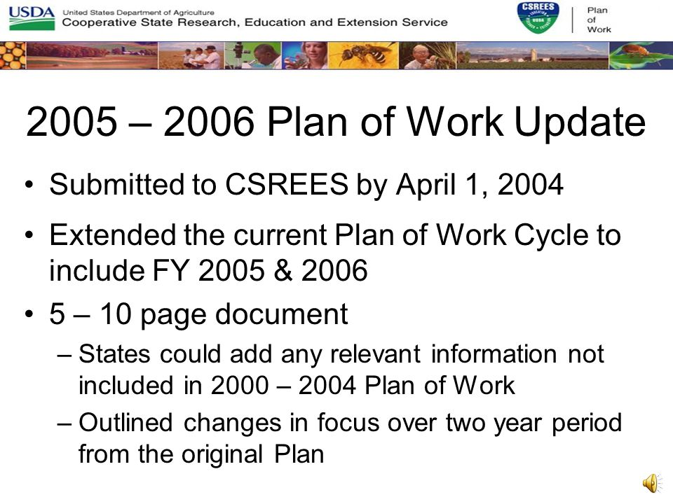 Current 2000-2004 5-Year Plan of Work Arranged around the 5 GPRA goals established by USDA when the 5 year Plan of Work began Unstructured text driven by the states perceived need for maximum flexibility and an aversion to a database driven template Annual Reports began using Key Themes as a means to try to gain some order to the unstructured text data