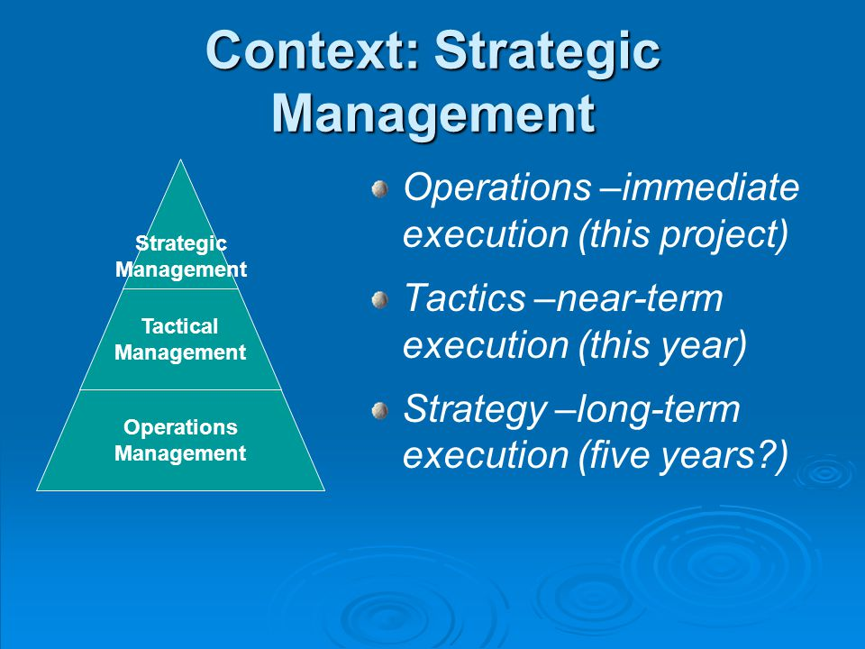Context: Strategic Management Operations –immediate execution (this project) Tactics –near-term execution (this year) Strategy –long-term execution (five years ) Strategic Management Operations Management Tactical Management