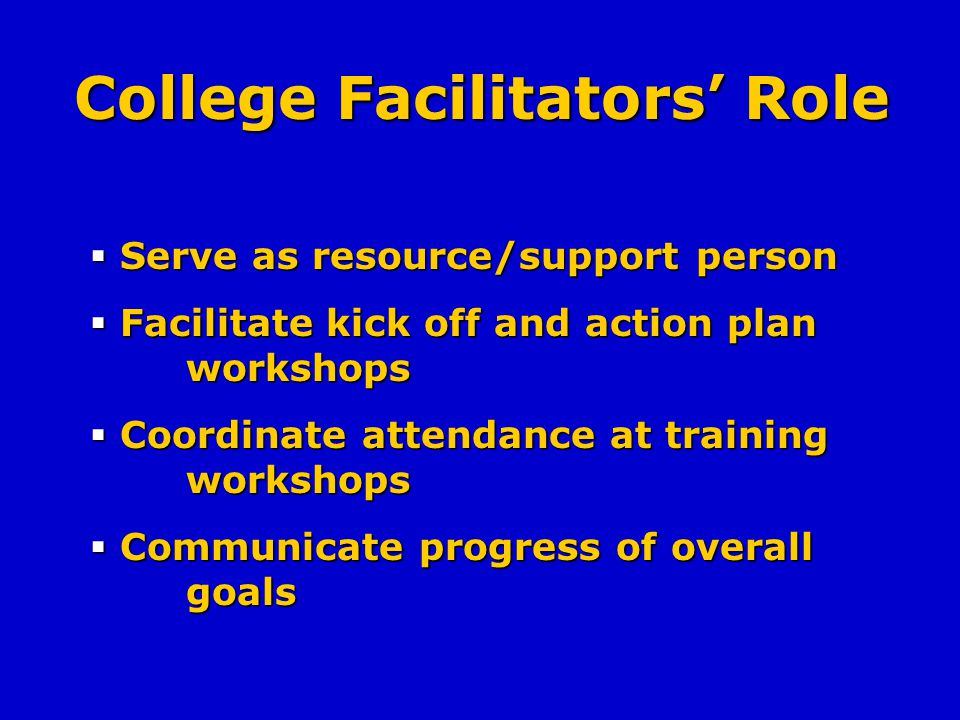 College Facilitators Role Serve as resource/support person Serve as resource/support person Facilitate kick off and action plan workshops Facilitate kick off and action plan workshops Coordinate attendance at training workshops Coordinate attendance at training workshops Communicate progress of overall goals Communicate progress of overall goals