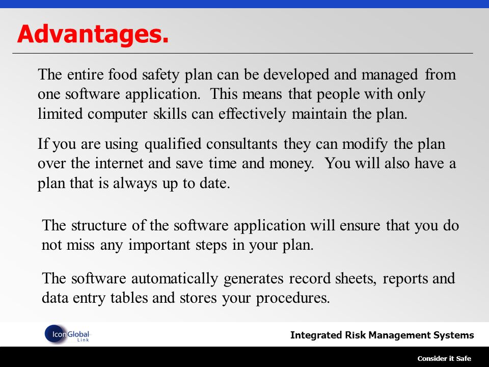 Integrated Risk Management Systems Consider it Safe HACCP