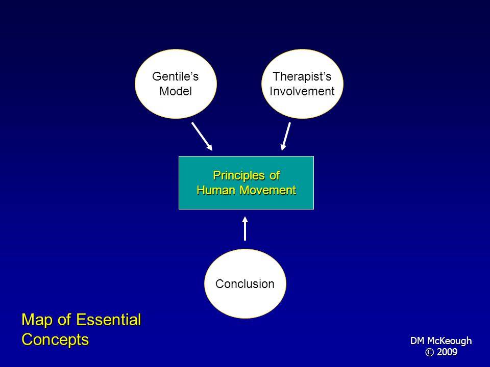 Principles of Human Movement Therapists Involvement Gentiles Model Map of Essential Concepts Conclusion DM McKeough © 2009