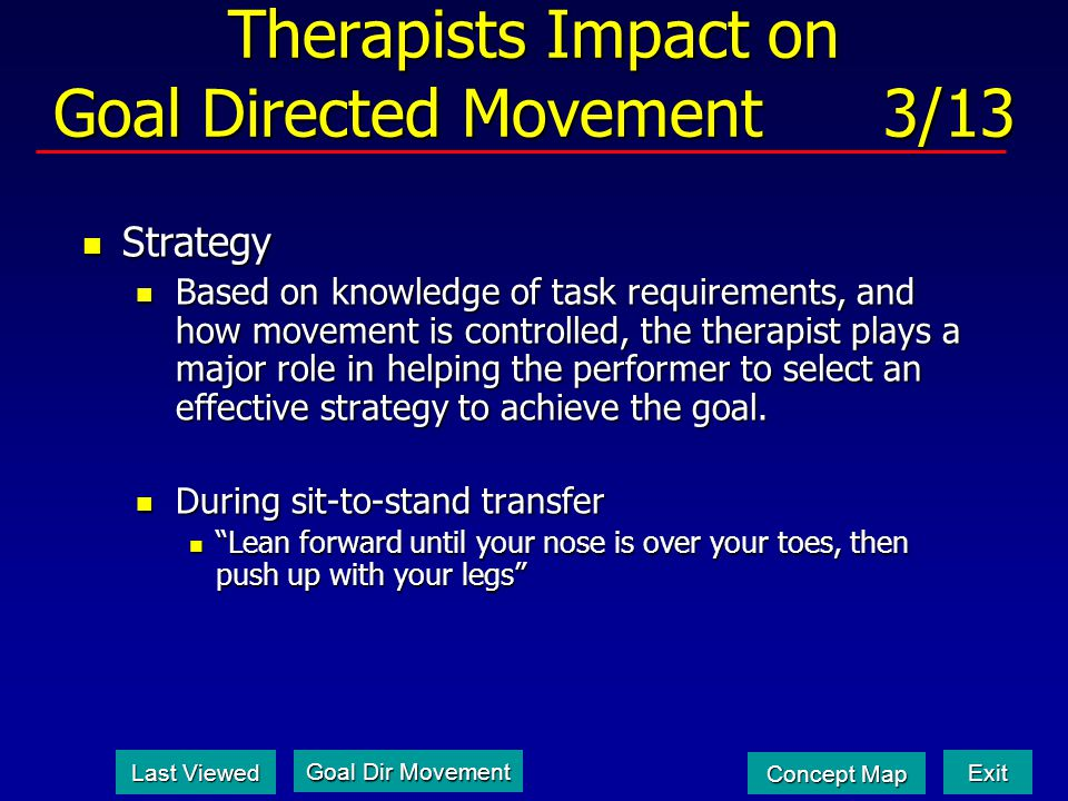 Therapists Impact on Goal Directed Movement 3/13 Strategy Strategy Based on knowledge of task requirements, and how movement is controlled, the therapist plays a major role in helping the performer to select an effective strategy to achieve the goal.
