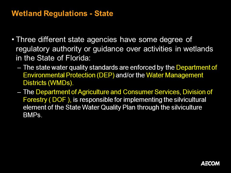 Wetland Regulations - State Three different state agencies have some degree of regulatory authority or guidance over activities in wetlands in the State of Florida: –The state water quality standards are enforced by the Department of Environmental Protection (DEP) and/or the Water Management Districts (WMDs).