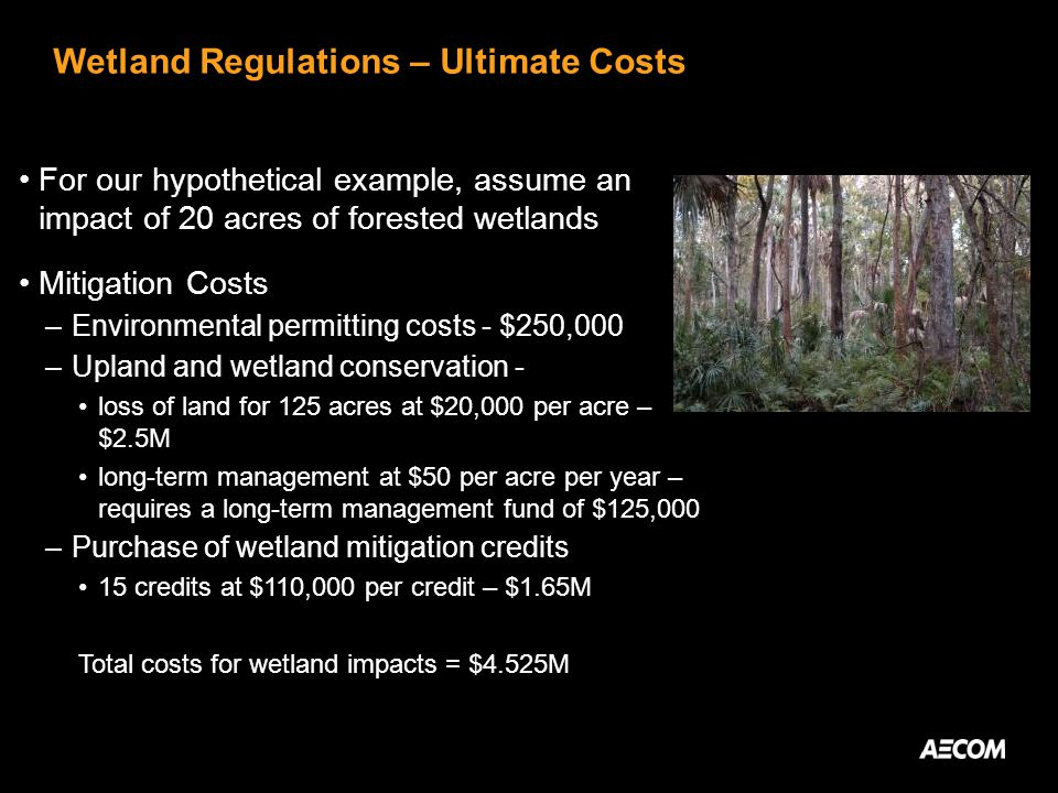 Wetland Regulations – Ultimate Costs For our hypothetical example, assume an impact of 20 acres of forested wetlands Mitigation Costs –Environmental permitting costs - $250,000 –Upland and wetland conservation - loss of land for 125 acres at $20,000 per acre – $2.5M long-term management at $50 per acre per year – requires a long-term management fund of $125,000 –Purchase of wetland mitigation credits 15 credits at $110,000 per credit – $1.65M Total costs for wetland impacts = $4.525M