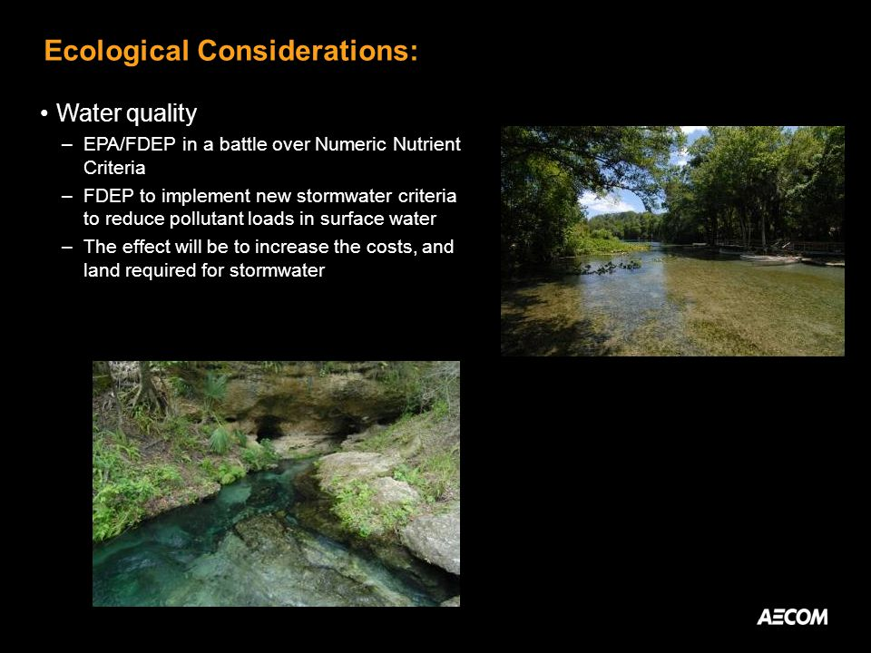 Ecological Considerations: Water quality –EPA/FDEP in a battle over Numeric Nutrient Criteria –FDEP to implement new stormwater criteria to reduce pollutant loads in surface water –The effect will be to increase the costs, and land required for stormwater