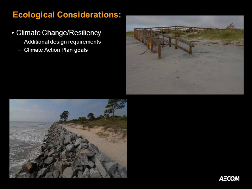 Ecological Considerations: Climate Change/Resiliency –Additional design requirements –Climate Action Plan goals