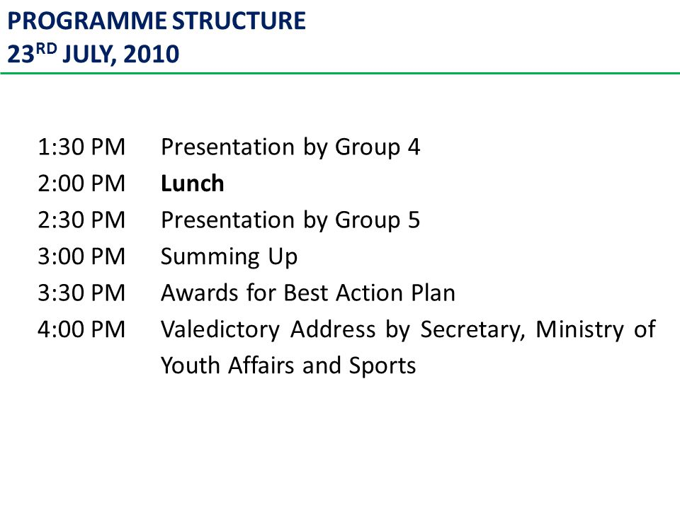 PROGRAMME STRUCTURE 23 RD JULY, 2010 TimeProgramme 1:30 PMPresentation by Group 4 2:00 PMLunch 2:30 PMPresentation by Group 5 3:00 PMSumming Up 3:30 PMAwards for Best Action Plan 4:00 PMValedictory Address by Secretary, Ministry of Youth Affairs and Sports