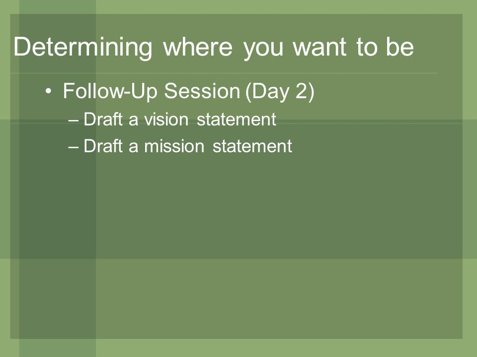Determining where you want to be Follow-Up Session (Day 2) –Draft a vision statement –Draft a mission statement