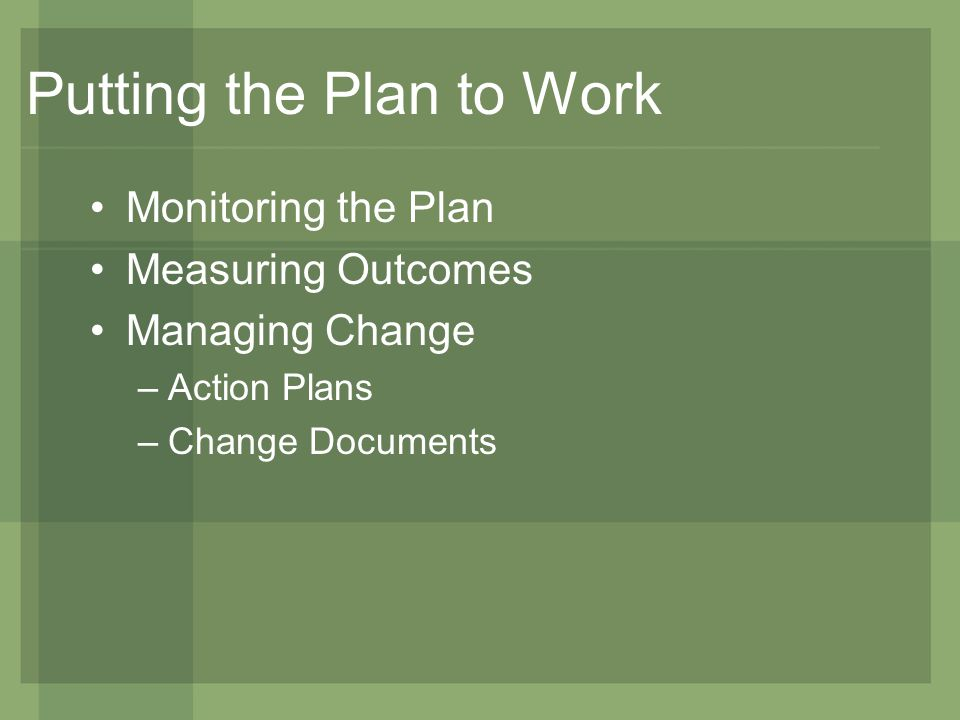 Putting the Plan to Work Monitoring the Plan Measuring Outcomes Managing Change –Action Plans –Change Documents