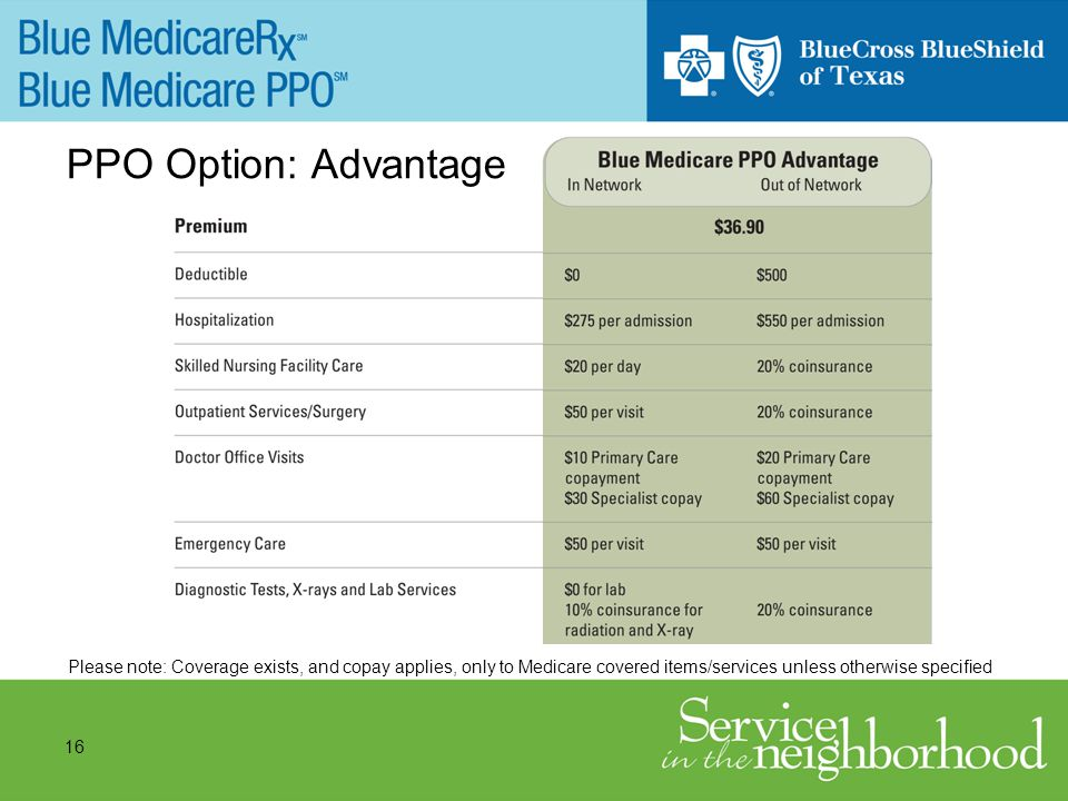 16 PPO Option: Advantage Please note: Coverage exists, and copay applies, only to Medicare covered items/services unless otherwise specified