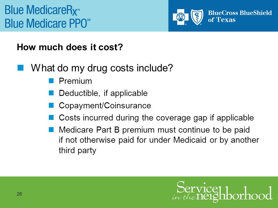 26 How much does it cost. What do my drug costs include.