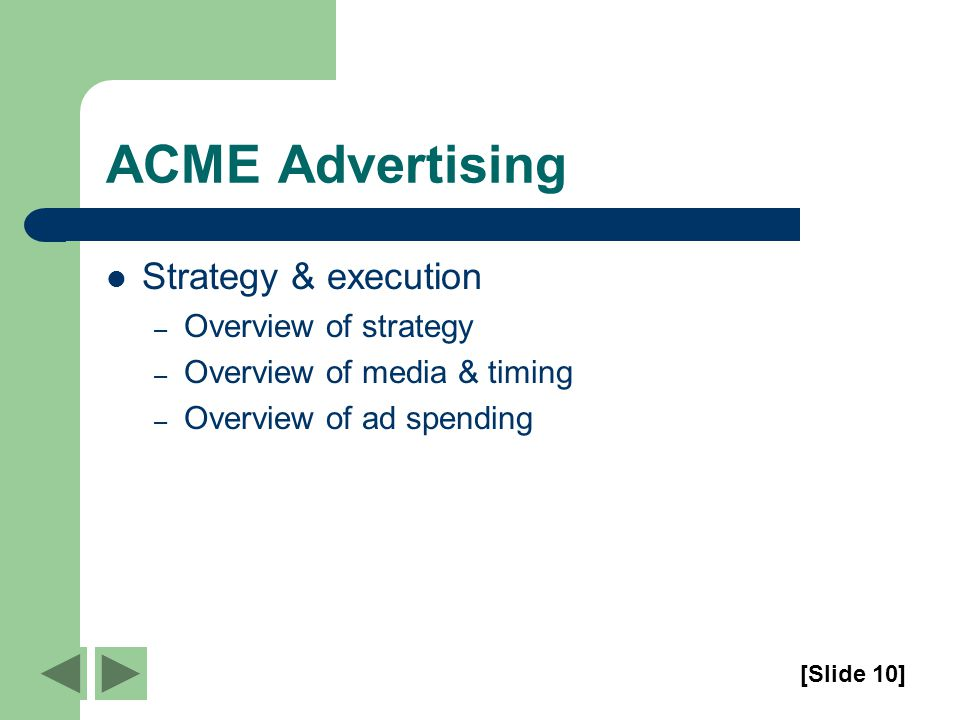 ACME Advertising Strategy & execution – Overview of strategy – Overview of media & timing – Overview of ad spending [Slide 10]