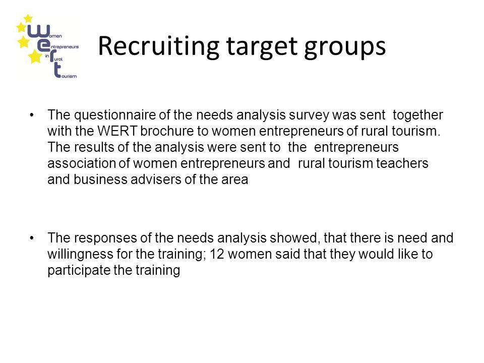 Recruiting target groups The questionnaire of the needs analysis survey was sent together with the WERT brochure to women entrepreneurs of rural tourism.