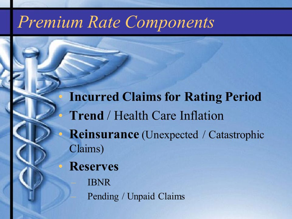 Premium Rate Components Incurred Claims for Rating Period Trend / Health Care Inflation Reinsurance (Unexpected / Catastrophic Claims) Reserves –IBNR –Pending / Unpaid Claims