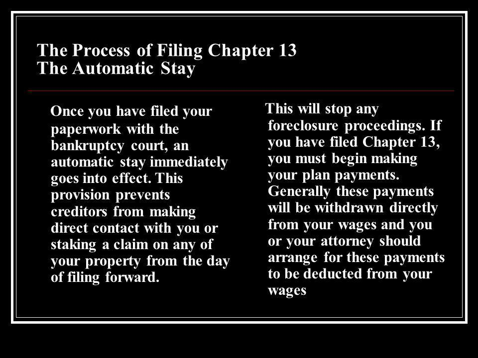 The Process of Filing Chapter 13 Meeting the Requirements In addition to the general requirements listed above, the repayment plan must pass three tests: 1) It must be delivered in good faith.