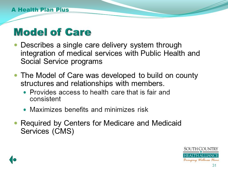 Describes a single care delivery system through integration of medical services with Public Health and Social Service programs The Model of Care was developed to build on county structures and relationships with members.