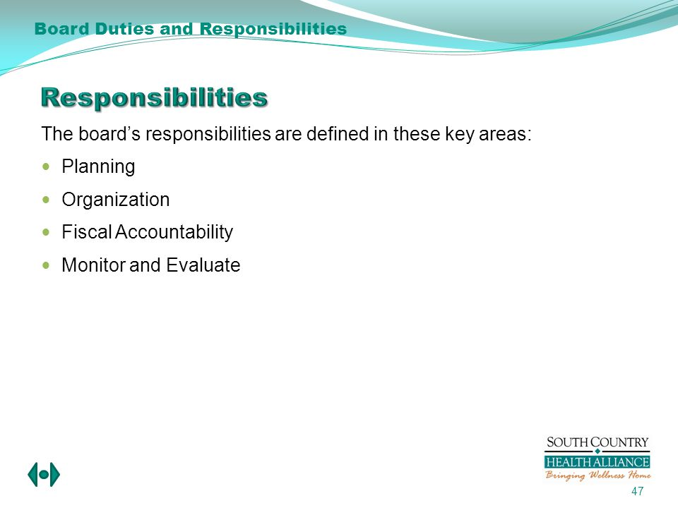 The boards responsibilities are defined in these key areas: Planning Organization Fiscal Accountability Monitor and Evaluate 47 Board Duties and Responsibilities