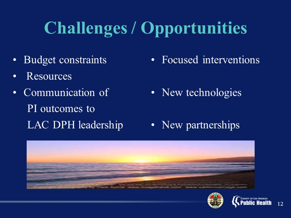 Challenges / Opportunities Budget constraints Resources Communication of PI outcomes to LAC DPH leadership Focused interventions New technologies New partnerships 12