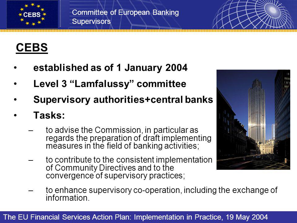 CEBS established as of 1 January 2004 Level 3 Lamfalussy committee Supervisory authorities+central banks Tasks: –to advise the Commission, in particular as regards the preparation of draft implementing measures in the field of banking activities; –to contribute to the consistent implementation of Community Directives and to the convergence of supervisory practices; –to enhance supervisory co-operation, including the exchange of information.