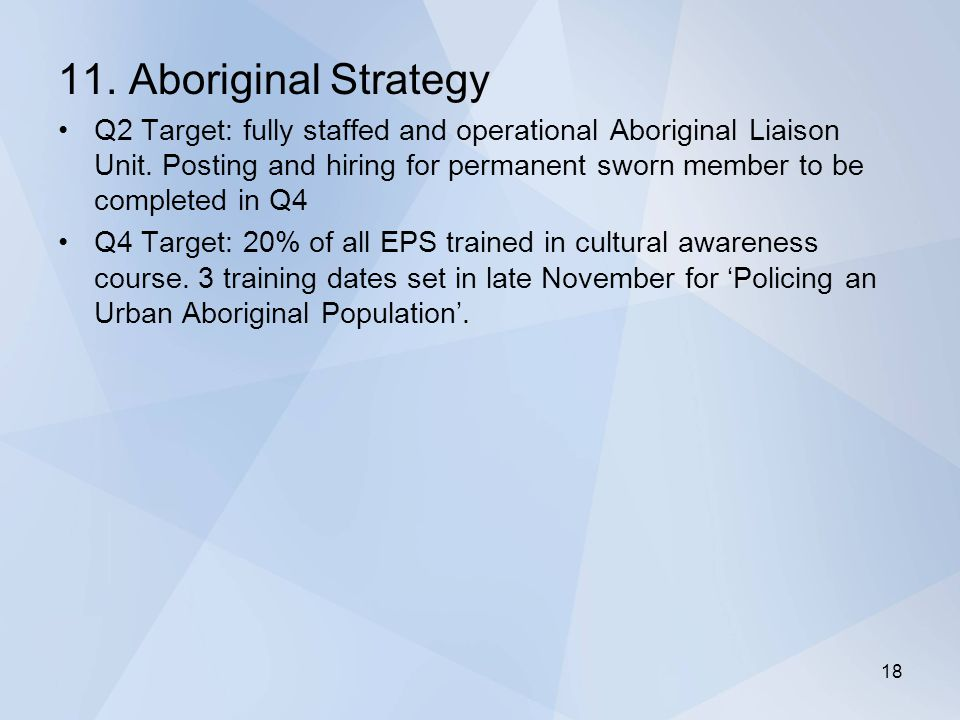 11. Aboriginal Strategy Q2 Target: fully staffed and operational Aboriginal Liaison Unit.
