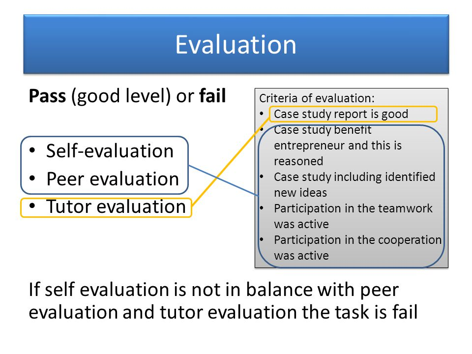 Evaluation Pass (good level) or fail Self-evaluation Peer evaluation Tutor evaluation If self evaluation is not in balance with peer evaluation and tutor evaluation the task is fail Criteria of evaluation: Case study report is good Case study benefit entrepreneur and this is reasoned Case study including identified new ideas Participation in the teamwork was active Participation in the cooperation was active Criteria of evaluation: Case study report is good Case study benefit entrepreneur and this is reasoned Case study including identified new ideas Participation in the teamwork was active Participation in the cooperation was active
