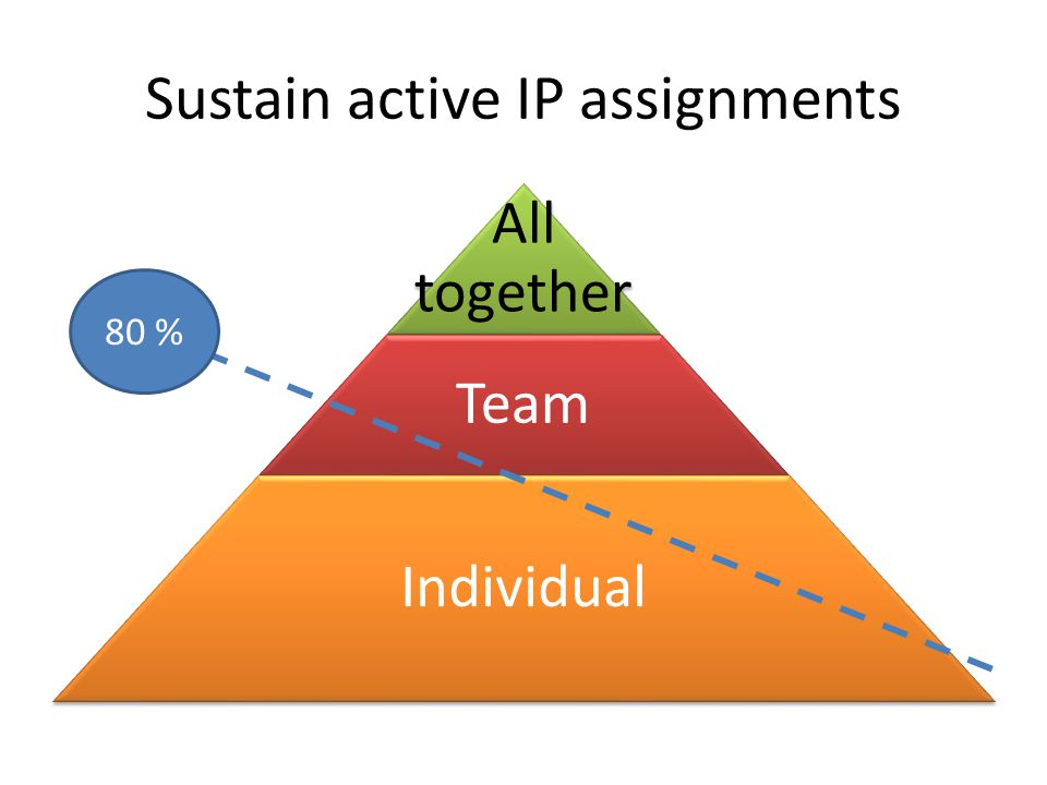 Sustain active IP assignments All together Team Individual 80 %