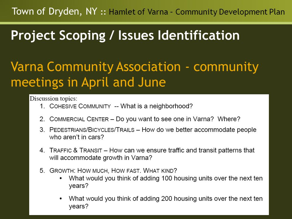 Town of Dryden, NY :: Hamlet of Varna – Community Development Plan Project Scoping / Issues Identification Varna Community Association - community meetings in April and June