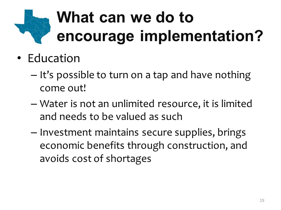 What can we do to encourage implementation.