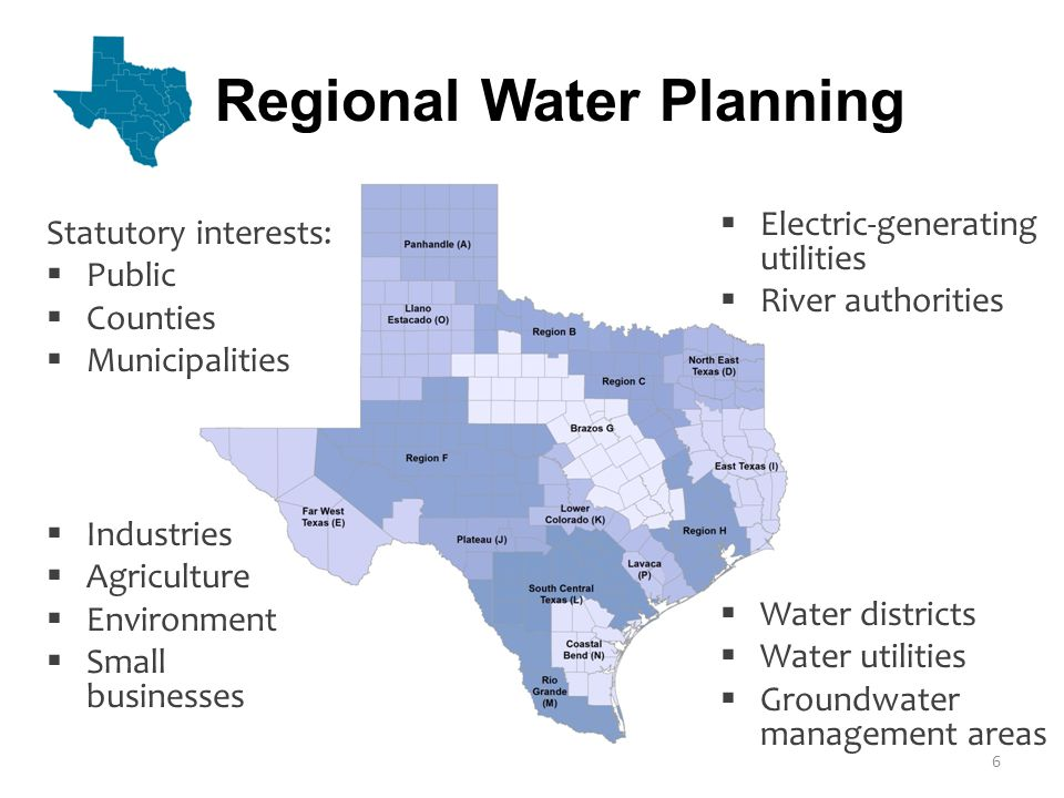 Regional Water Planning Statutory interests: Public Counties Municipalities Water districts Water utilities Groundwater management areas Industries Agriculture Environment Small businesses Electric-generating utilities River authorities 6