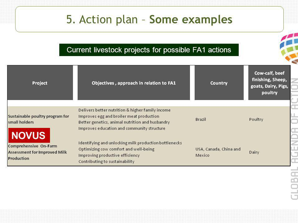 Current livestock projects for possible FA1 actions NOVUS 5. Action plan – Some examples